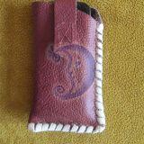 Natūralios odos įdėkliukas telefonui