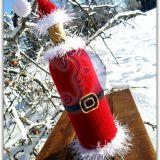 Vyno butelio kalėdinis papuošimas