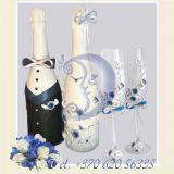Taures jaunavedziams, dekoruoti buteliai